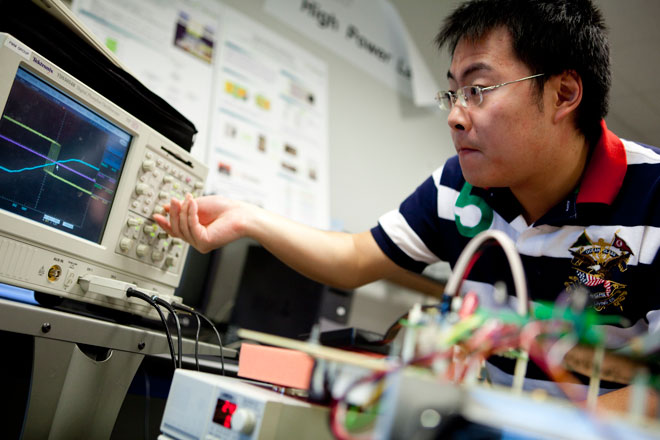 man working with smart grid